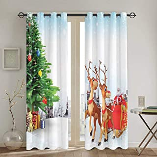 Santa Outdoor Curtain for Windows Snow Covered Christmas Village with Cartoon Santa On His Sleigh Big Tree and Boxes W100 X L84 Inch Multicolor
