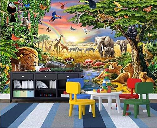 3D Foto Fotomurales - Mundo animal de la historieta 300x210 cm - 6 strisce Papel pintado tejido no tejido Decoración de Pared decorativos Murales moderna de Diseno Fotográfico