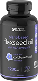 100% Vegan Flaxseed Oil with Plant-Based Omega's 3,6 & 9 ~ Vegan Certified & Non-GMO Project Verified (180 veggie softgels)