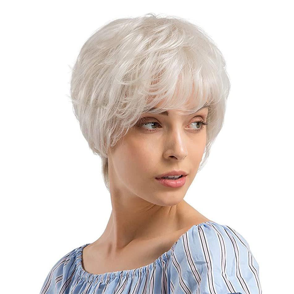 White Short Human Hair Curly Wavy Wig with Hair Bangs Imported Premium Synthetic Fashion Hair Wigs for Women (a)