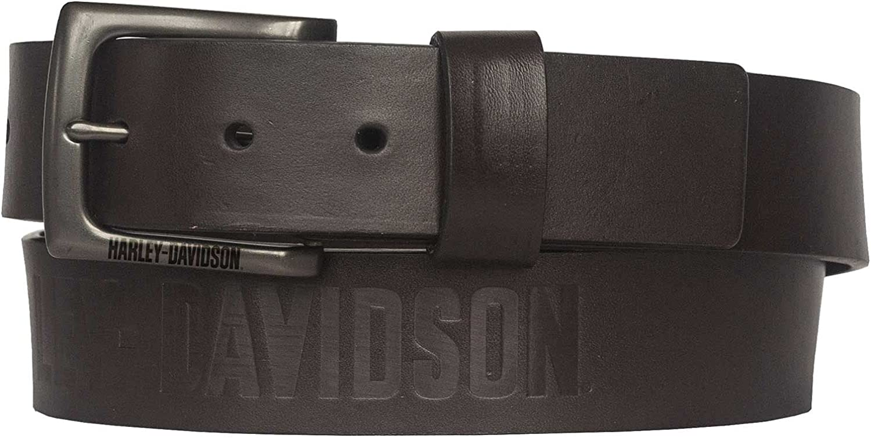 Harley-Davidson Men's Vintage Race Genuine Brown Leather Belt - Antique Nickel