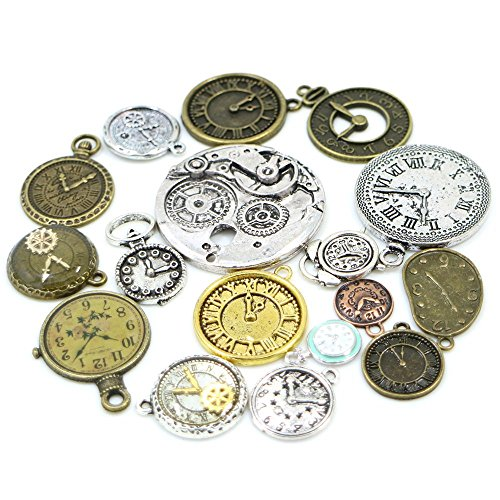 30pcs Mixed Antique Bronze/Antique Silver Clock Faces, DIY Crafts, Jewelry Making, Steampunk Pendants