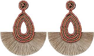Loveliome Dangle Earrings for Women, Lightweight Bohemian Handmade Tassel Beaded Earrings