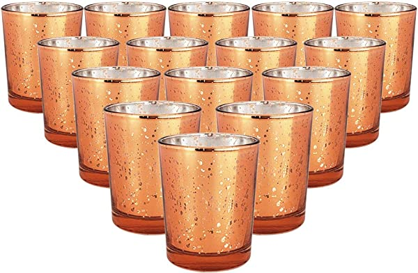 Just Artifacts Mercury Glass Votive Candle Holder 2 75 Inch 15pcs Speckled Copper Mercury Glass Votive Tealight Candle Holders For Weddings Parties And Home D Cor