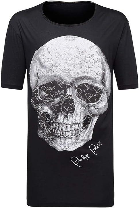 T-shirt taglio nero girocollo sempre philipp plein MTK2546