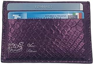 Porta carte di credito e tessere in Pitone (Viola metal)