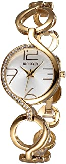 Gosasa Fashion Women's Swarovski Crystal-Accented Stainless Steel Gold Quartz Bracelet Watch