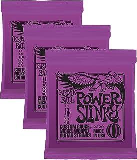 Ernie Ball Power Slinky - Cuerdas de guitarra de níquel enrolladas.011–.048, paquete de 3sets