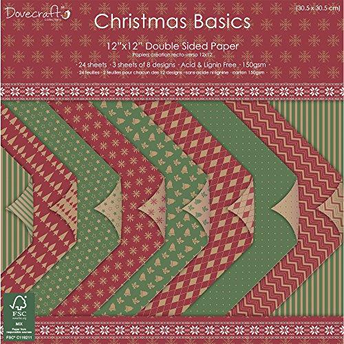 Rayher 59740000 Scrap-Block Christmas Basics, 30,5x30,5cm, 150 g/m2, 24Bogen