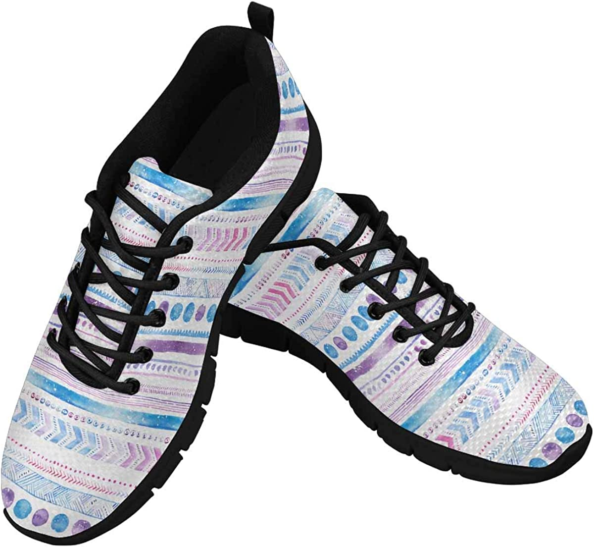 INTERESTPRINT Boho Blue and Purple Women's Lace Up Breathable Non Slip Sneaker