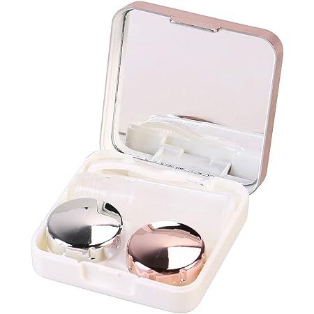 Ètui lentilles de contact ROSENICE Voyage Boite à Lentilles de Contact avec Mirroir Pincette Stick et Bouteille de Solution (Rose Pâle)