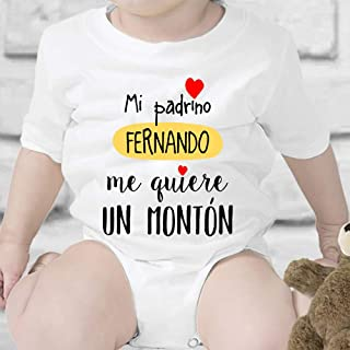 Regalo personalizado para un bautizo: body para bebé personalizable con el nombre del padrino