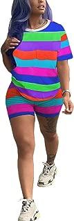 Flygo Women's Rainbow Striped 2 Piece Outfit Short Sleeve Shirt Bodycon Biker Shorts