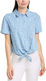 Women's Short Sleeve White Floral One-Pocket Tie Front Camp Shirt