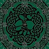 BeeTheOnly Reloj de Pared Celta Monocromo árbol de la Vida con Antiguo Motivo Europeo intemporal Forrest Verde Negro Dormitorio Sala de Estar Cocina Reloj de casa