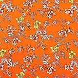 Crêpe Satin Tukan im Blumenmeer – orange — Meterware