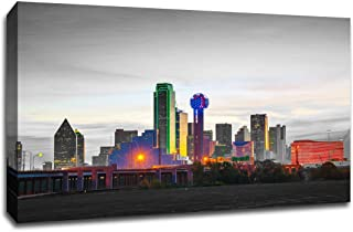 Dallas Touch of Color Skyline 18x12 Gallery Wrapped Canvas Wall Art