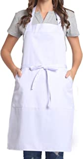 BIGHAS Adjustable Bib Apron with Pocket Extra Long Ties for Women Men, 13 Colors, Chef, Kitchen, Home, Restaurant, Cafe, Cooking, Baking, Gardening (White)