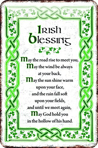 Irish Metal Sign With The May Irish Blessing, White With A Green Celtic Design