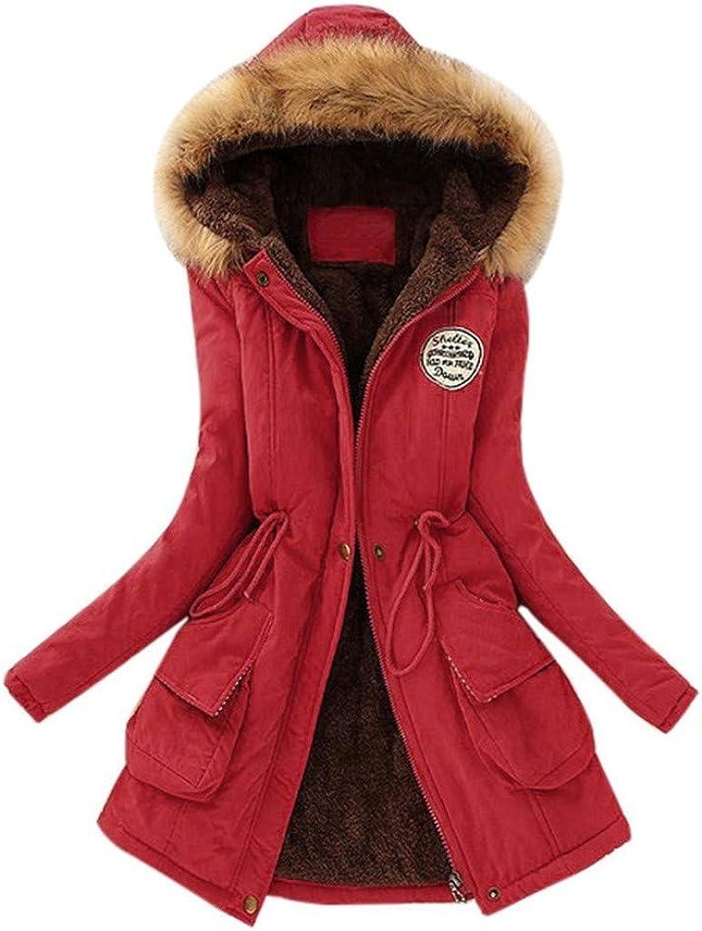 Women's Fashion Winter Warm Long Coat Faux Fur Collar Slim Hooded Jacket Parkas Casual Outwear Coats