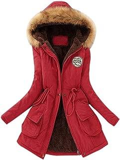 Pongfunsy Women Winter Coats Womens Warm Long Coat Fur Collar Hooded Jacket Slim Parka Outwear Plus Size S-7XL