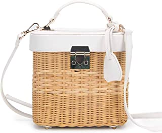 Straw Beach Bag,SHZONS Straw Rattan Women Tote Summer Beach Handbag Shoulder Handbag Hollow-out Top Handle Bag