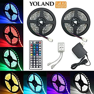 LED Strip Lights Kit, Yoland Waterproof SMD 5050 RGB 14Ft/4.8M(7Ft2Reels) 144LEDs with 44Key Remote Controller and Power Supply for Holiday Party Decorators