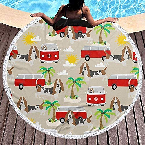 Nazi Mie Basset Hound Perro Autobús de Playa Autobús Hippie Palmeras Ronda Toalla de Playa Manta Picnic Alfombra