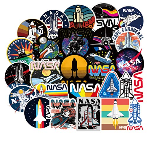NASA Stickers Decals for Water Bottles Laptop - 50 Pcs Space Explorer Universe Galaxy Astronaut Spaceman Spacecraft Planet Decal for iPad Car Phone Guitar Luggage New Gifts for Fans (1)