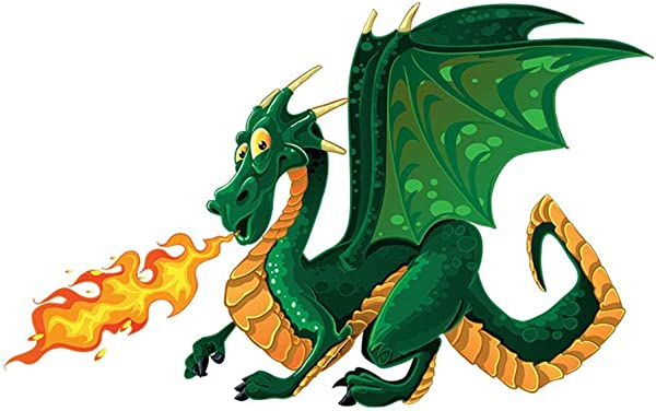 Decalmile Green Dragon Wall Decals Kids Room Wall Decor Peel And Stick Removable Wall Stickers For Kids Nursery Bedroom Living Room