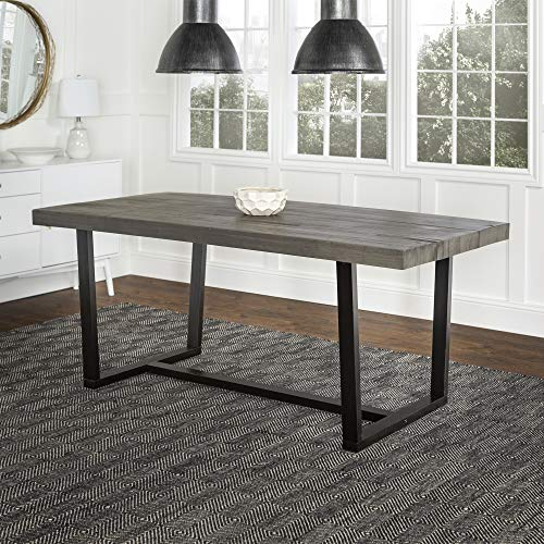 Walker Edison Andre Modern Solid Wood Dining Table, Grey