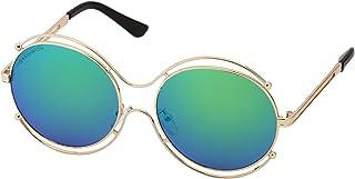 Sky Vision Panto Sunglasses for Women, Blue Lens, 48901
