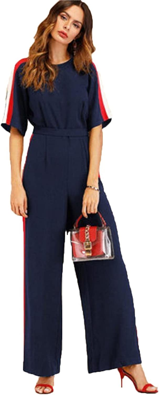 CmoLySHs Women Striped Elegant Wide Leg Half Sleeve High Waist Jumpsuits