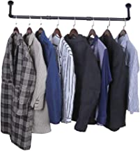 Industrial Pipe Clothes Rack-38 Inch, Heavy Duty Detachable Wall Mounted Black Iron Garment Bar, Multi-Purpose Hanging Rod...
