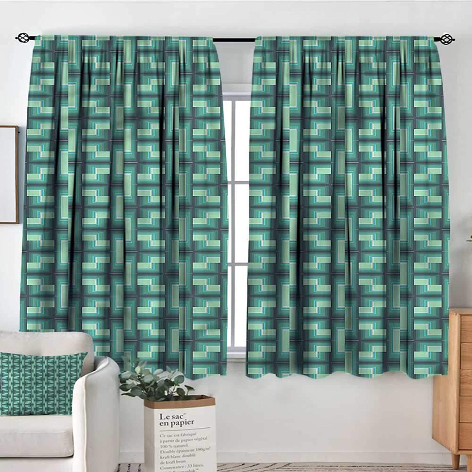 Sanring Geometric,Printed Backout Curtains Optical Illusion 42 X63  Nursery and Kids Bedroom Curtain