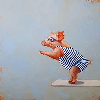Picture Peddler The Plunge by Lucia Heffernan Diving Pig Bathing Suit Swimming Googles Whimsical Novelty Humorous Funny Animal Art Print Poster, 12x12 Image Size, 14x14 Overall Size