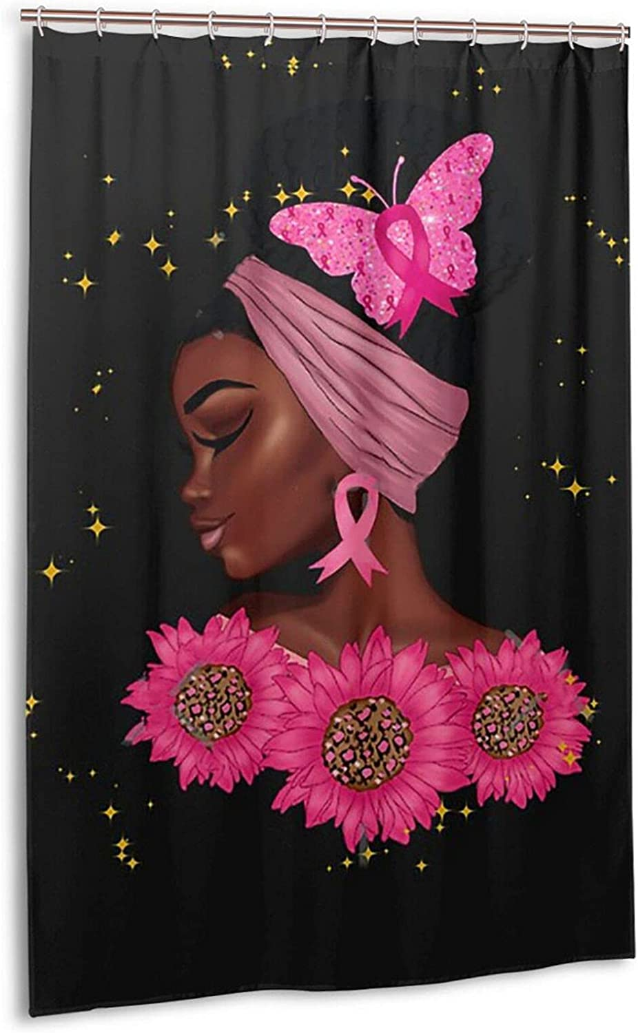 SYUTZSING Black Breast Cancer Awareness Shower Popularity Set Max 87% OFF Girl Curtain