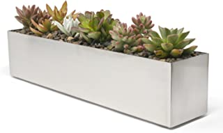 Buhbo Modern Trough Rectangle Planter 16 inch, Brushed Stainless Steel