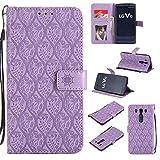 pinlu® Funda para LG V10 Smartphone Plegado Flip Billetera Carcasa Retro PU Leather Cover Función de Soporte con Ranura Case Rayas de Ratán Púrpura