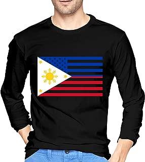 American Filipino Flag Camiseta de Manga Larga para Hombre Camisas de algodón con Cuello Redondo