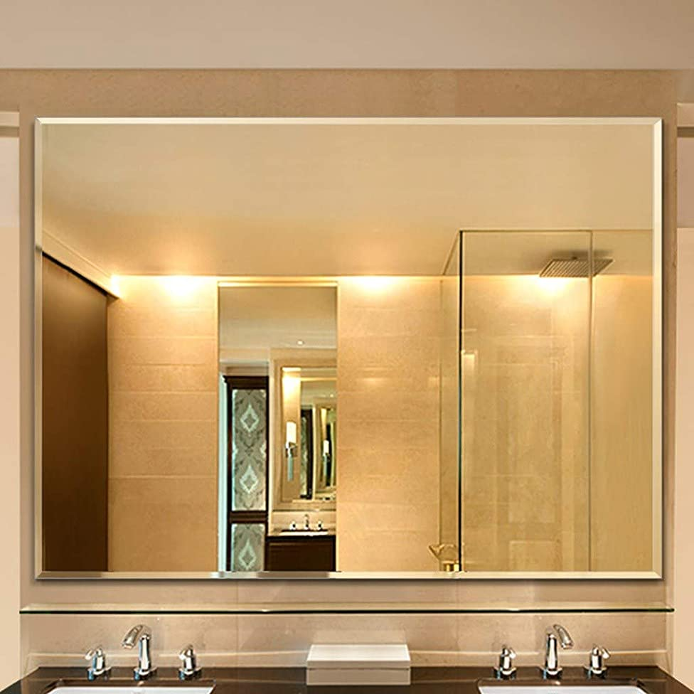 モンキー遺体安置所長椅子DOOST 大型シンプルウォールミラー長方形合理化モダンブラッシュドメタリックゴールドミラー壁|ガラスパネルゴールドラウンドラウンドディープデザイン