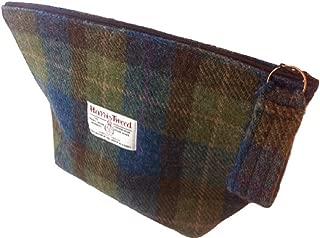 Harris Tweed ladies cosmetic toiletry bag - Loch and Mist plaid hand made in Scotland