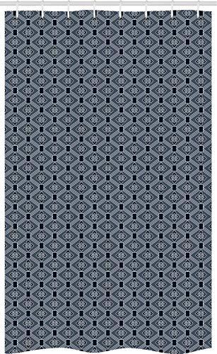 ABAKUHAUS Japans Douchegordijn, Bloemen Diamond Line, voor Douchecabine Stoffen Badkamer Decoratie Set met Ophangringen, 120 x 180 cm, Charcoal Grey Dark Blue