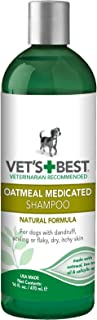 Vet's Best Medicated Oatmeal Shampoo for Dogs | Soothes Dog Dry Skin | Cleans, Moisturizes, and Conditions Skin and Coat | 16 Ounces