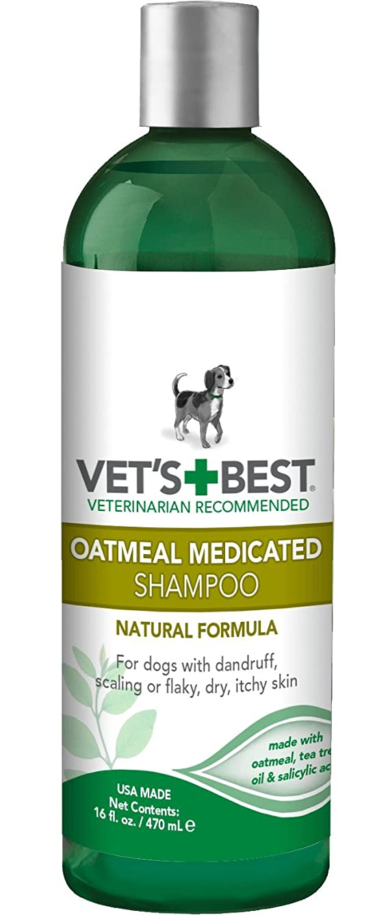 ビーチバングラデシュプラカードVet's Best Natural Formula Oatmeal Medicated Shampoo Dog Dandruff Flaky Skin 16z