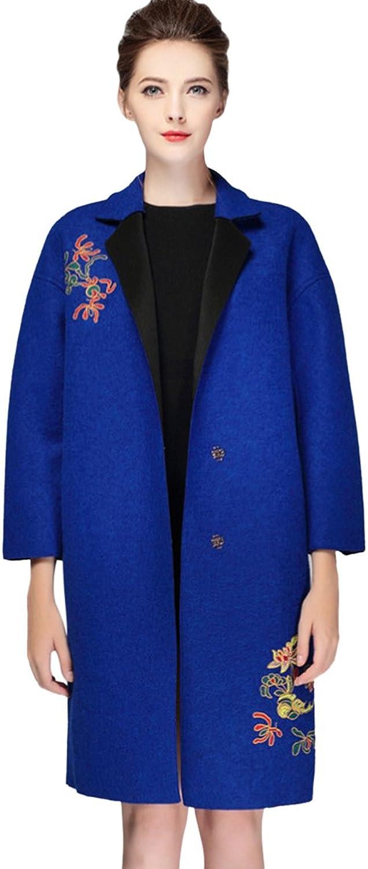 Tortor 1bacha Women Lady Notch Lapel VNeck Flower Embroidered Wool Blend Long Coat