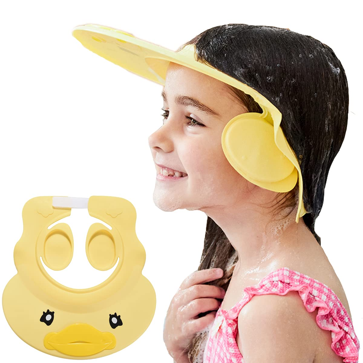 Baby Shower Cap Washing Hair Visor Shield Kids Shampoo Guard hat Toddler Bath Rinser Prevents Water from Pooling in Face for Protector Children Eyes and Ears (Yellow)