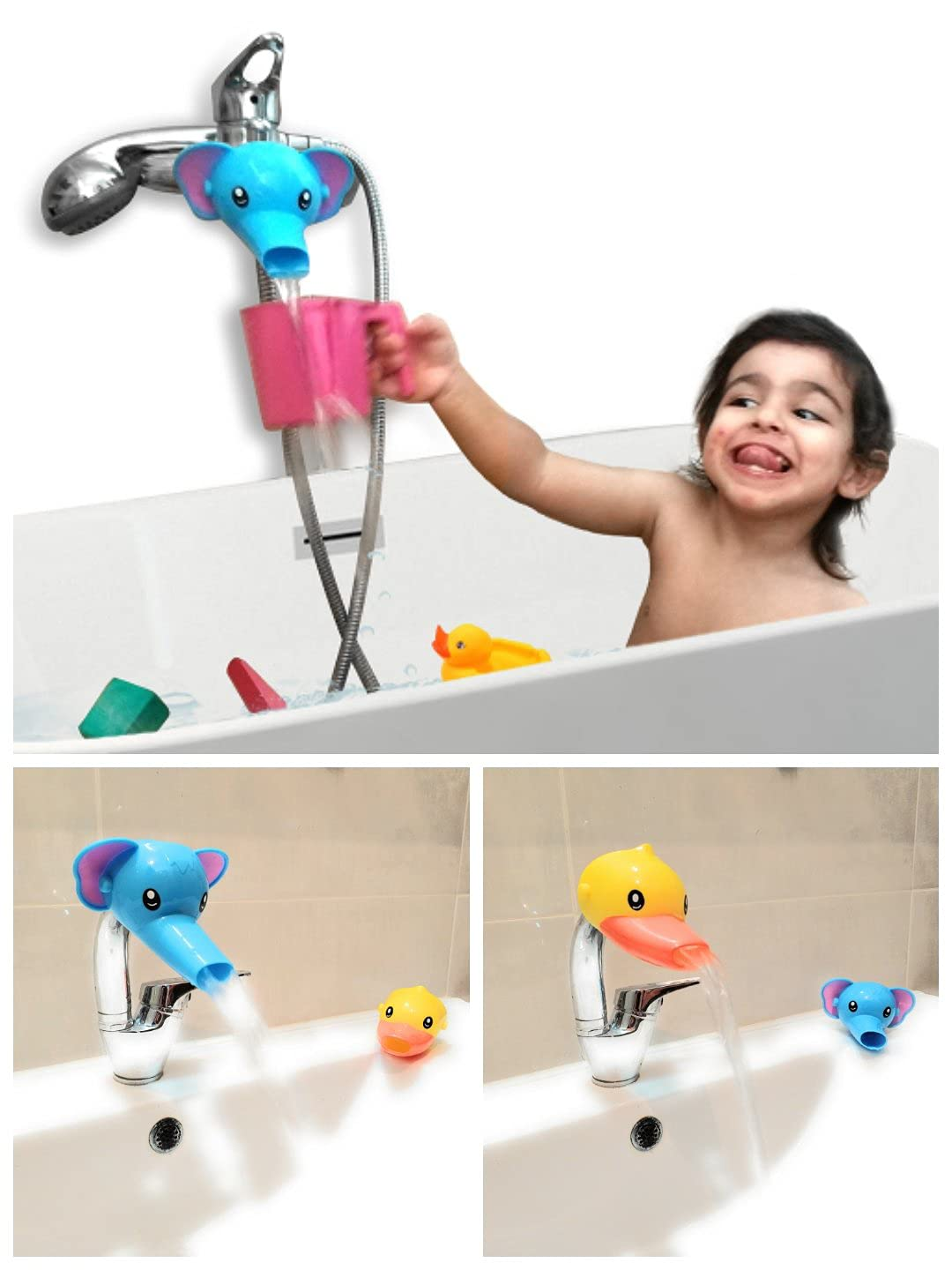 RafaLife Bath Toys - Faucet Extender, Animal Spout Sink Handle Extender for Toddlers Kids, Baby Safe and Fun Hand-Washing Solution, Promotes Hand Washing in Children (3 Pack)