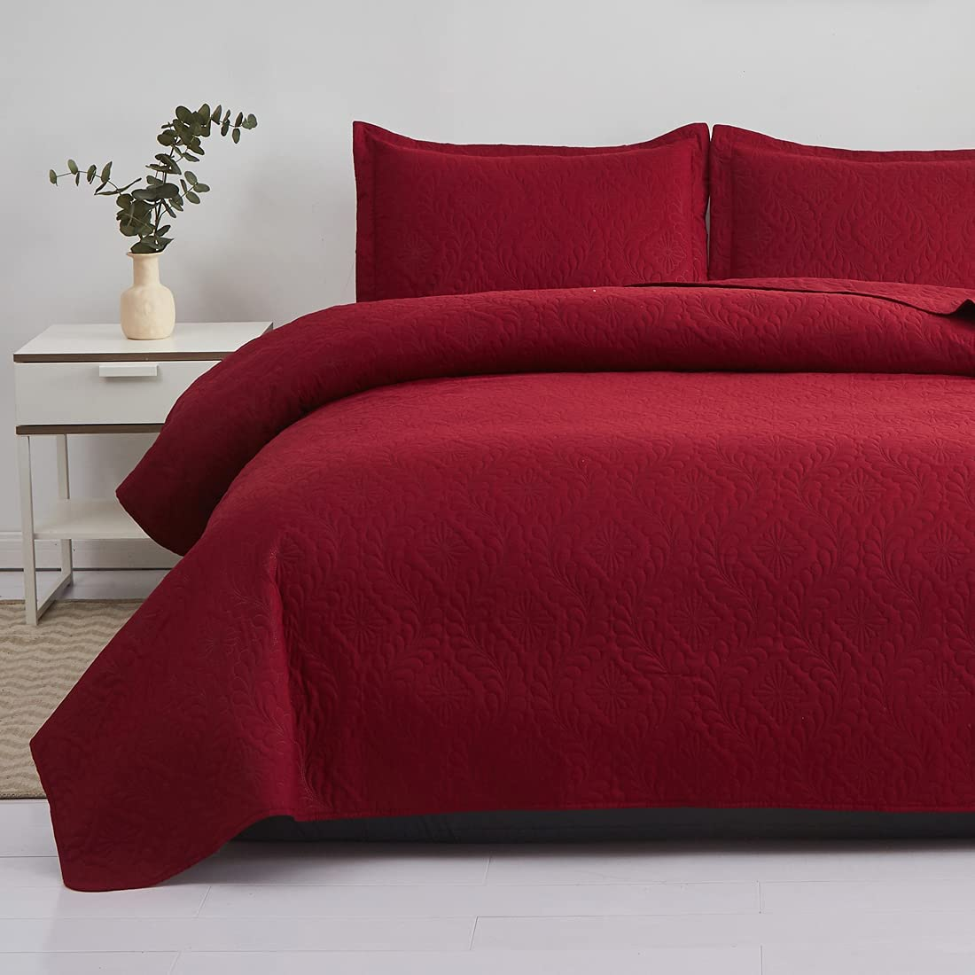 OFFicial shop Burgundy Quilts Full New sales Queen Microfiber Size Lightweight Bedspraed