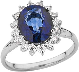 Elegant CZ Princess Diana Inspired Engagement Ring with September Birthstone in 10k White Gold
